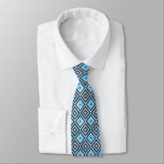 Diamond Squares Pattern Blue Tie