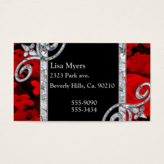 Diamond Swirls & Red Roses Business Card