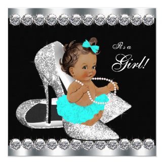 Diamond Teal Blue Black Breakfast Baby Shower Card