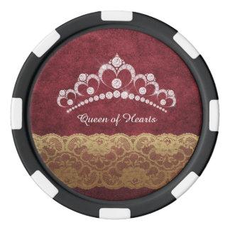 Diamond Tiara Crown Red Crushed Velvet Poker Chip