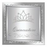 Diamond Tiara Elegant Silver Damask Quinceanera Personalised Announcement