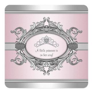 Diamond Tiara Gray Pink Princess Baby Girl Shower 13 Cm X 13 Cm Square Invitation Card
