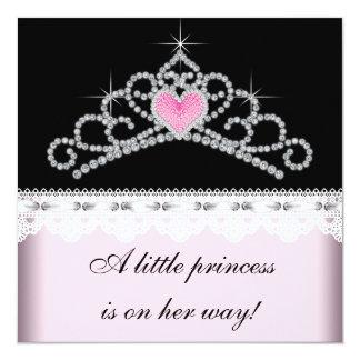 Diamond Tiara Pink Black Princess Baby Shower 13 Cm X 13 Cm Square Invitation Card