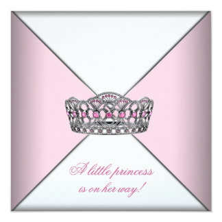 Diamond Tiara Pink Princess Baby Shower 13 Cm X 13 Cm Square Invitation Card