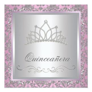 Diamond Tiara Pink Princess Party 13 Cm X 13 Cm Square Invitation Card