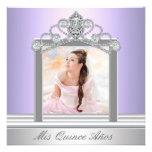 Diamond Tiara Purple Photo Quinceanera Personalized Invite