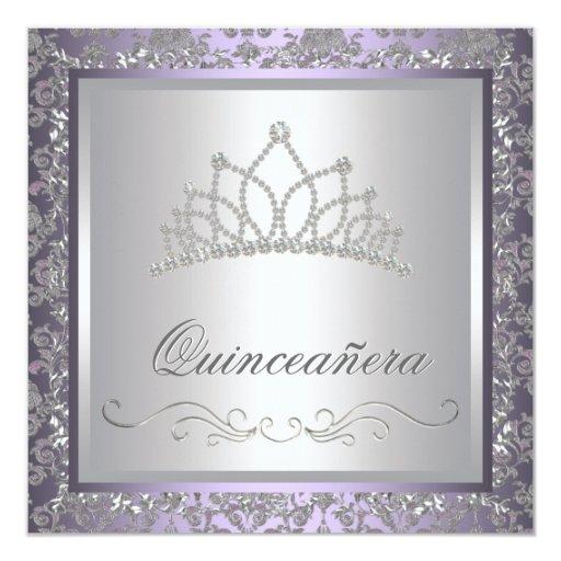 Diamond Tiara Purple Quinceanera 13 Cm X 13 Cm Square Invitation Card