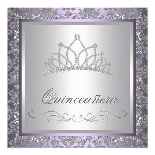 Diamond Tiara Purple Quinceanera Personalised Invitation