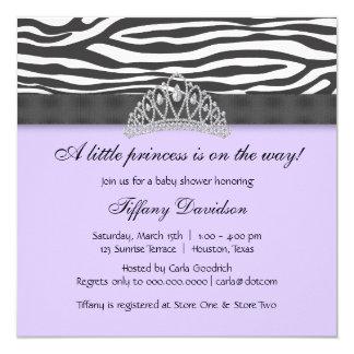 Diamond Tiara Purple Zebra Princess Baby Shower Card