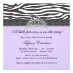 Diamond Tiara Purple Zebra Princess Baby Shower Personalised Announcements