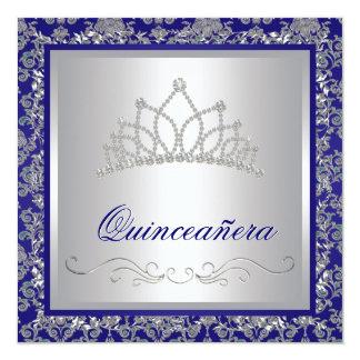 Diamond Tiara Royal Navy Blue Quinceanera 13 Cm X 13 Cm Square Invitation Card