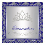 Diamond Tiara Royal Navy Blue Quinceanera Personalised Invitation