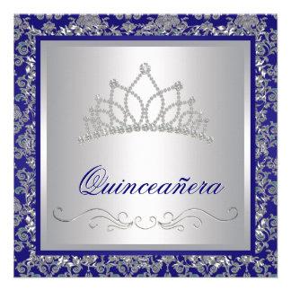 Diamond Tiara Royal Navy Blue Quinceanera Invite