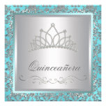 Diamond Tiara Teal Blue Damask Teal Blue Quinceane Personalized Invites