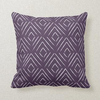 Diamond Tribal Pattern Pillow - Aubergine