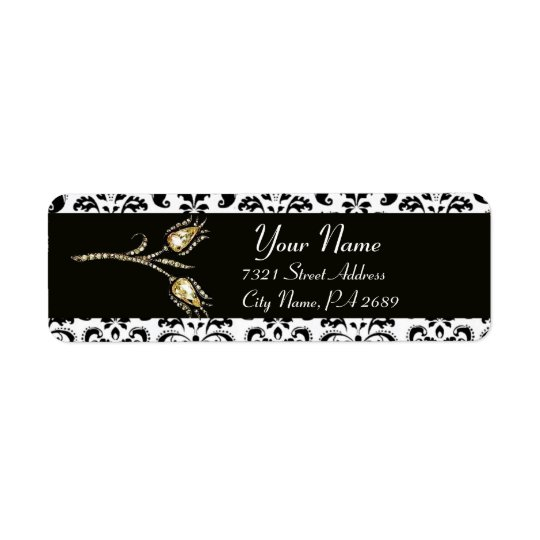 DIAMOND TULIPS BLACK WHITE  DAMASK RETURN ADDRESS LABEL