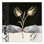 DIAMOND TULIPS ,Pink Black White Damask Monogram 13 Cm X 13 Cm Square Invitation Card