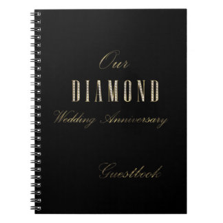 Diamond Wedding Anniversary Guest Book Black Gold