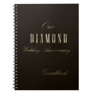 Diamond Wedding Anniversary Guest Book Gold Brown
