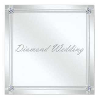 Diamond Wedding Anniversary Invitation in Silver
