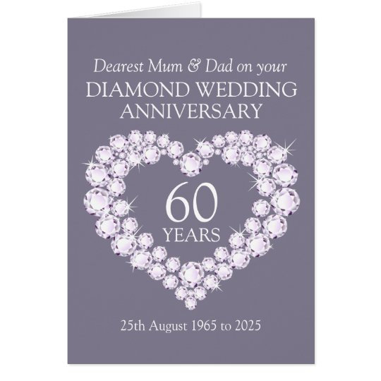 Diamond wedding anniversary mum and dad card