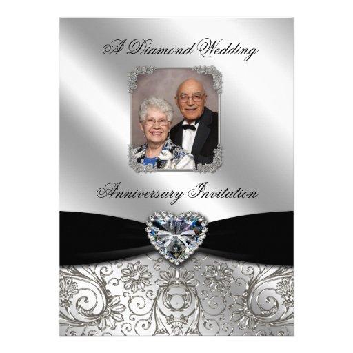 Diamond Wedding Anniversary Photo Invitation Card