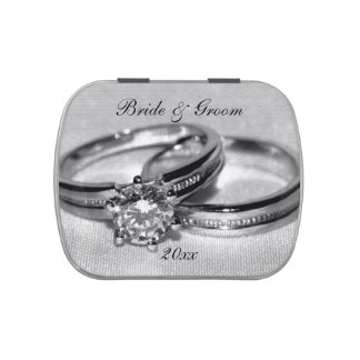 Diamond Wedding Ring Set Party Favors Jelly Belly Tins