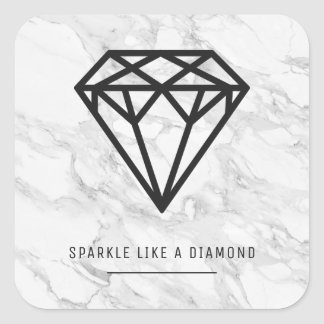 Diamond with Marble Square Sticker