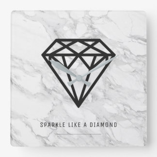 Diamond with Marble Square Wall Clock
