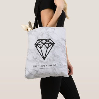 Diamond with Marble Tote Bag