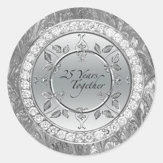 Diamonds 25th Silver Wedding Anniversary 25 Years Classic Round Sticker