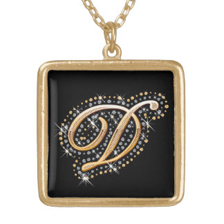 Diamonds and Golden Initial ''D'' Necklace