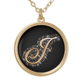 Diamonds and Golden Initial ''J'' Necklace