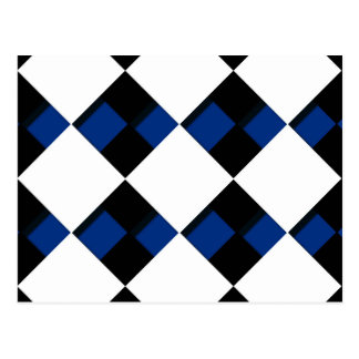 Diamonds and Shadows in Blue, Black, and White Postcard