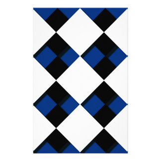 Diamonds and Shadows in Blue, Black, and White Personalized Stationery