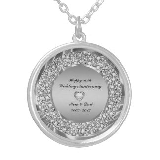 Diamonds And Silver 10th Wedding Anniversary Round Pendant Necklace