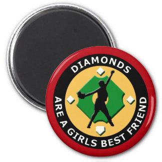 DIAMONDS ARE A GIRLS BEST FRIEND - WOMENS SOFTBALL 6 CM ROUND MAGNET