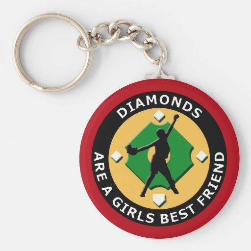 DIAMONDS ARE A GIRLS BEST FRIEND - WOMENS SOFTBALL KEY CHAIN