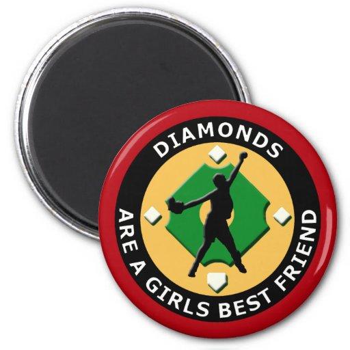 DIAMONDS ARE A GIRLS BEST FRIEND - WOMENS SOFTBALL FRIDGE MAGNET