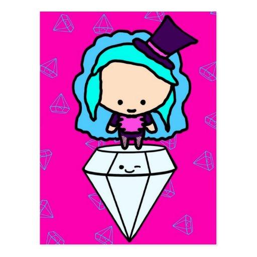 Diamonds are a girl's best friends (kawaii kids) post card