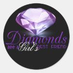 Diamond's are girl's best friend round sticker