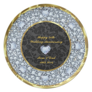 Diamonds, Black & Gold 50th Wedding Anniversary Party Plates