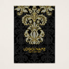 Diamonds Black & Gold Pattern Floral Damasks Business Card