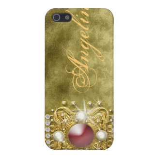 Diamonds bling red gold damask cover for iPhone 5/5S