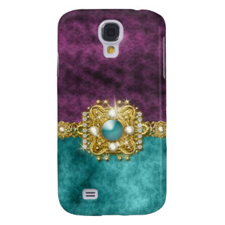 Diamonds bling teal gems damask samsung galaxy s4 case