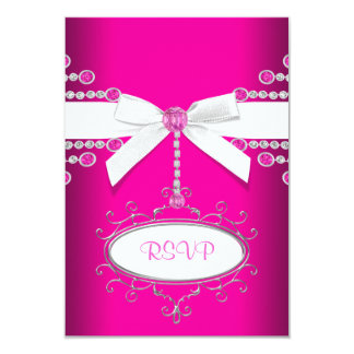 Diamonds Bow Hot Pink Quinceanera RSVP Card