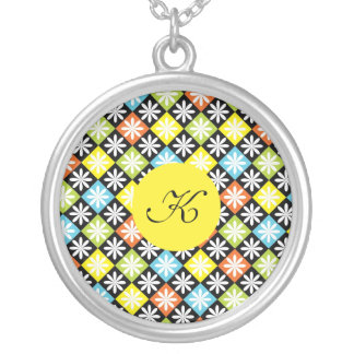 Diamonds colorful pattern custom monogram initial round pendant necklace