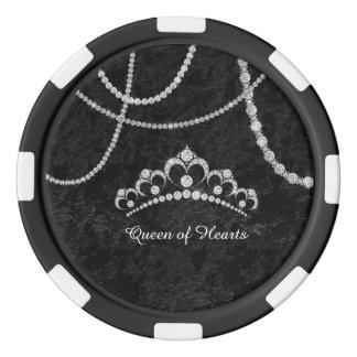 Diamonds Crown Black Soft Velvet Poker Chip