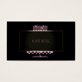 Diamonds Crystal Black Pink Rose Cake Designer Business Card