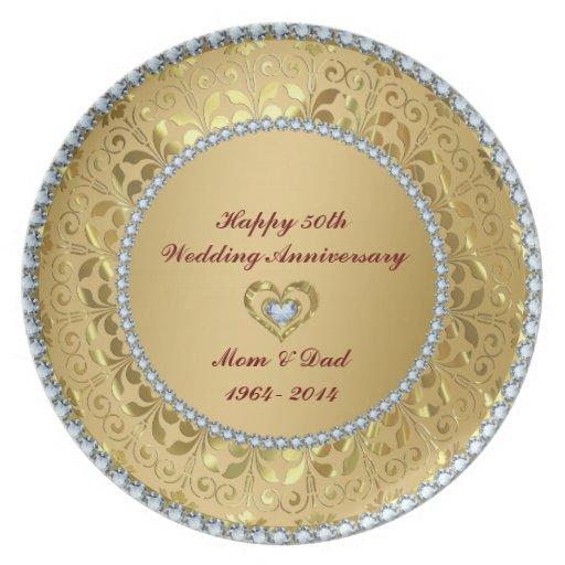 Diamonds & Gold 2 50th Wedding Anniversary Dinner Plate